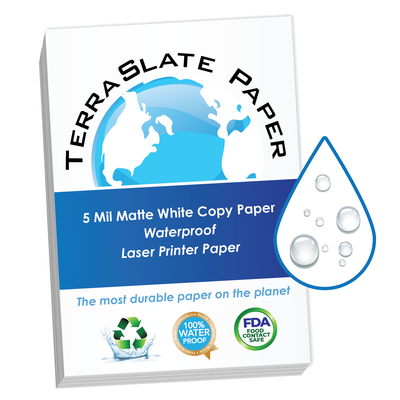 "5 Mil Waterproof Copy Paper 8.5"" x 11"" Letter Size"