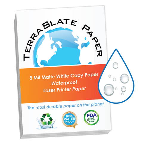 "8 Mil Waterproof Copy Paper 8.5"" x 11"""