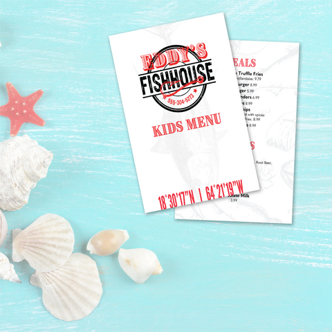 "Upscale Fish House Menu Template - 5.5"" x 8.5"""