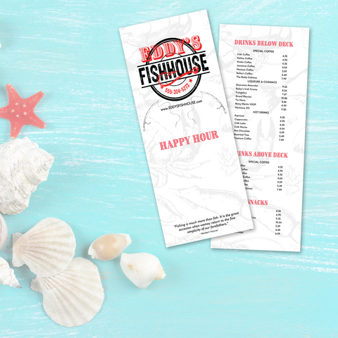 "Upscale Fish House Menu Template - 6"" x 15"""