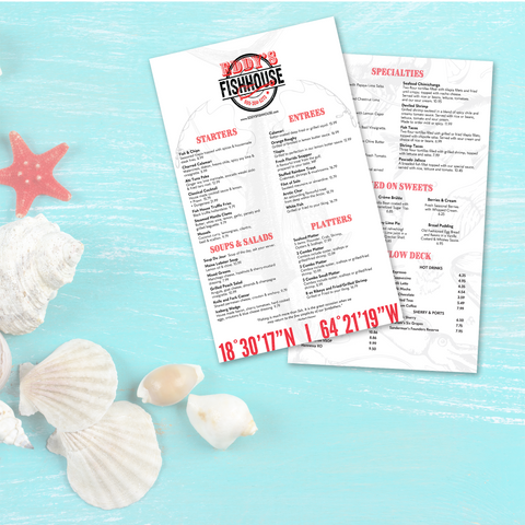 "Upscale Fish House Menu Template - 8.5"" x 14"""
