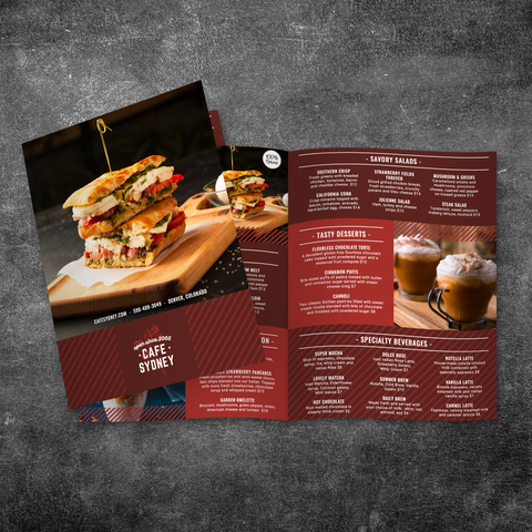 "Modern Cafe Menu Template 11"" x 17"" Bi-Fold"