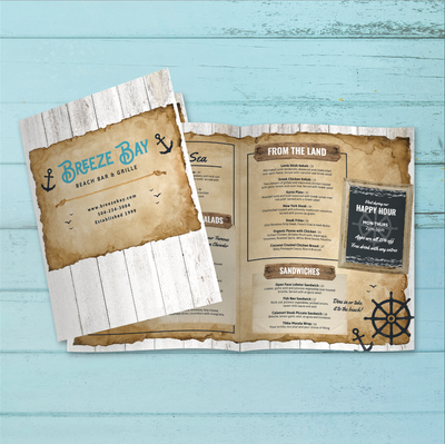 "Beach Bar & Grille Menu Template 11"" x 17"" Bi-Fold"