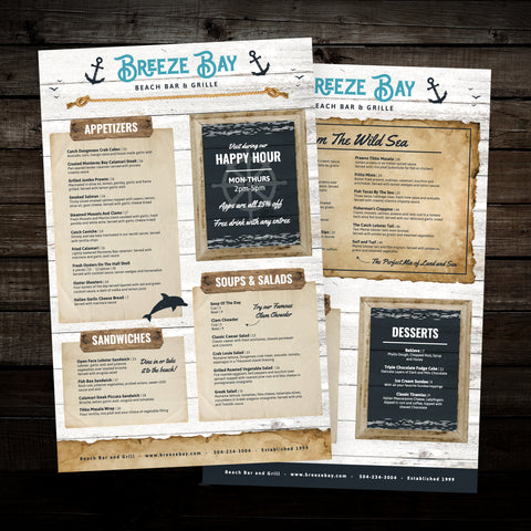 "Beach Bar & Grille Menu Template 11"" x 17"""