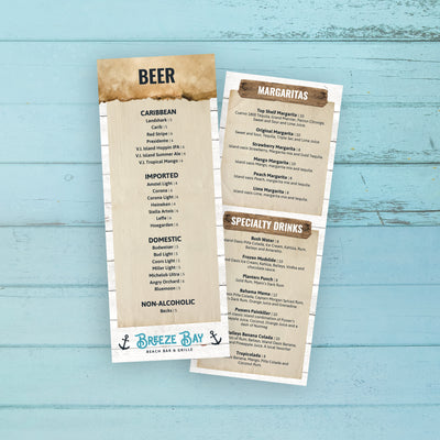 "Beach Bar & Grille Menu Template 4.25"" x 11"""