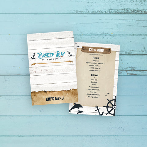 "Beach Bar & Grille Menu Template 5.5"" x 8.5"""