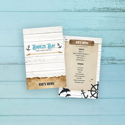 "Beach Bar & Grille Kid's Menu Template 5.5"" x 8.5"""