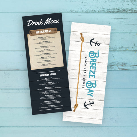 "Beach Bar & Grille Menu Template 6"" x 15"""