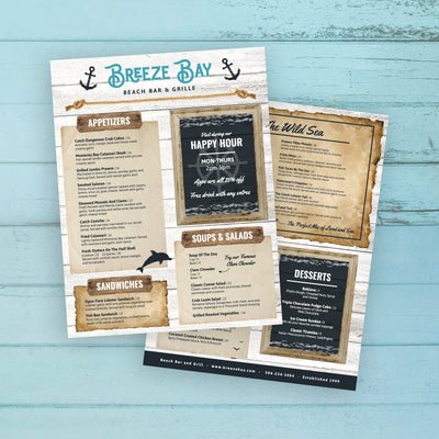 "Beach Bar & Grille Menu Template 8.5"" x 11"""
