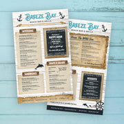 "Beach Bar & Grille Menu Template 8.5"" x 14"""