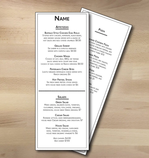 "Classic Black & White Template 4.25"" x 11"" - TerraSlate Waterproof Paper"