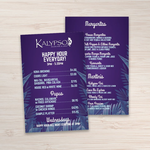 "Waterproof Flat Table Menus 4"" x 6"" - TerraSlate Waterproof Paper"