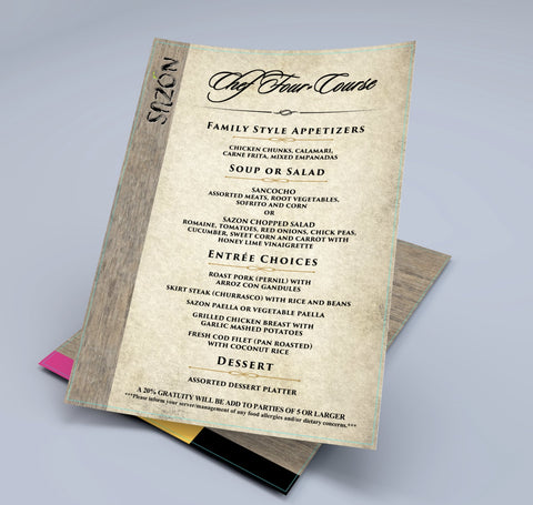 "Waterproof Flat Table Menus 5.5"" x 8.5"" - TerraSlate Waterproof Paper"