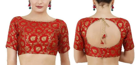 Red Brocade Blouse - Indien Boutique