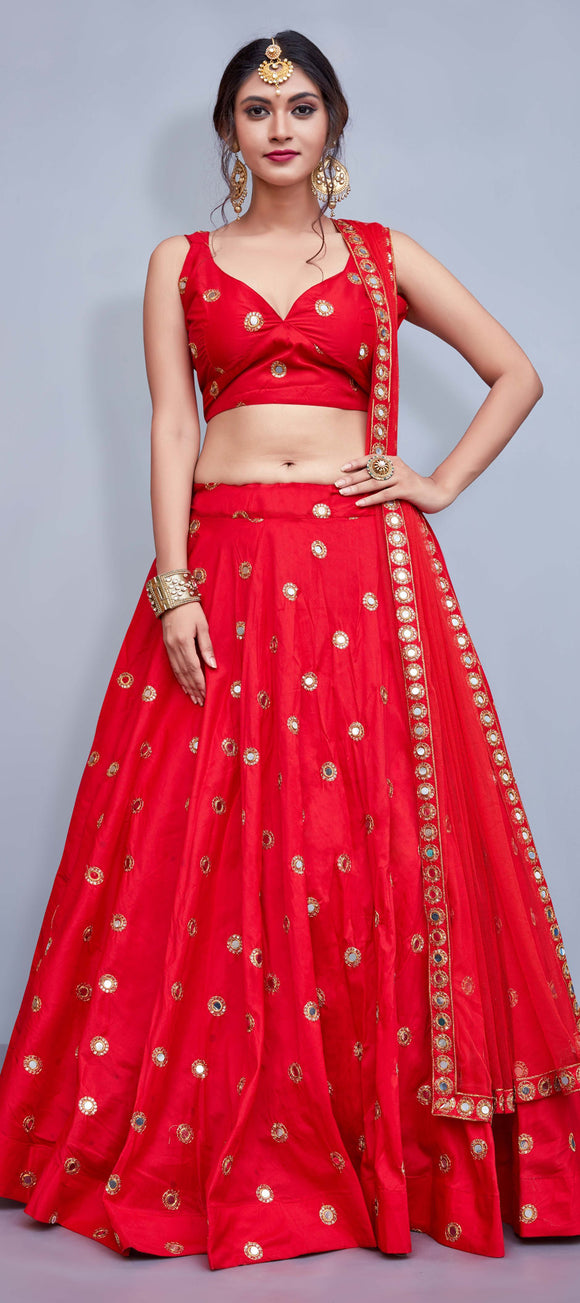 Mirrorwork Silk Lehenga - Indien Boutique
