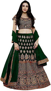Dark Green Pure Silk Lehenga - Indien Boutique