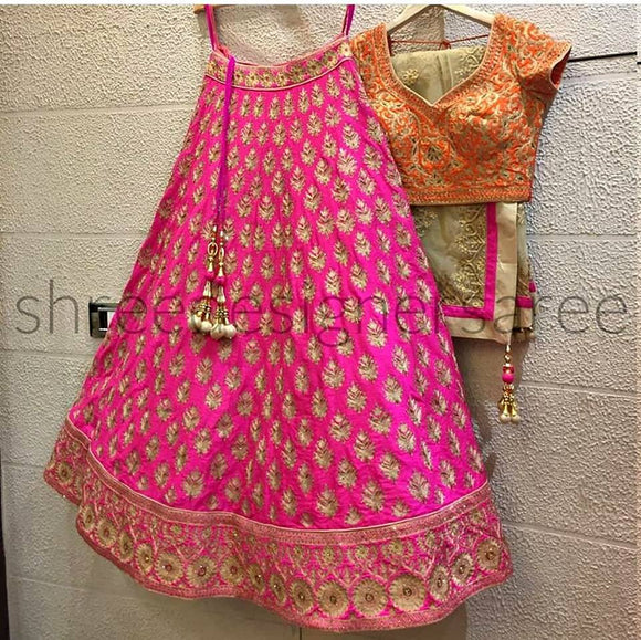 Pink Orange Satin Lehenga - Indien Boutique