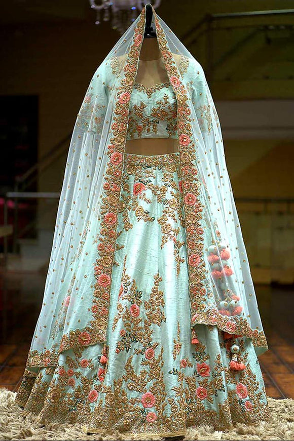 Embroidered Silk Lehenga - Indien Boutique