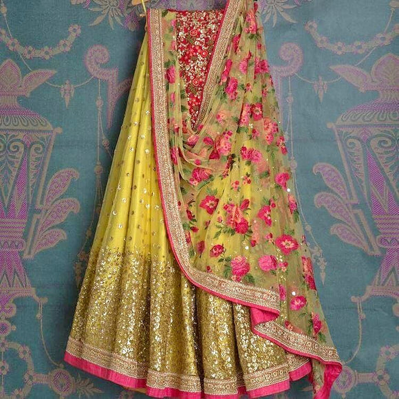 Yellow Net Lehenga - Indien Boutique