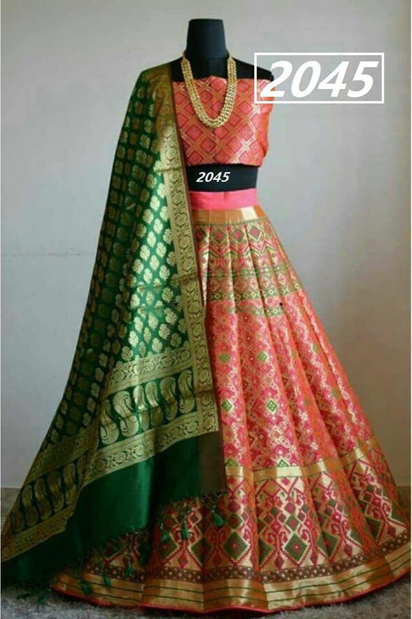 Pure Silk Brocade Lehenga - Indien Boutique