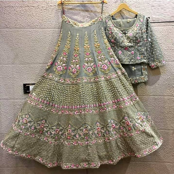 Grey Green Embroidered Satin Lehenga - Indien Boutique