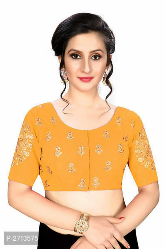 Yellow Embroidered Silk Blend Blouse - Indien Boutique