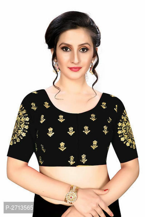 Black Embroidered Silk Blouse - Indien Boutique