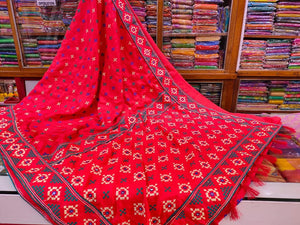 Mirror work Gujrati Stitch Saree - Indien Boutique