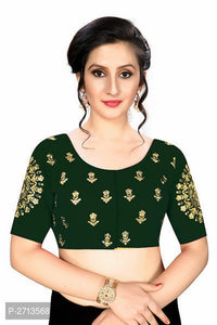 Dark Green Embroidered Silk Blend Blouse - Indien Boutique