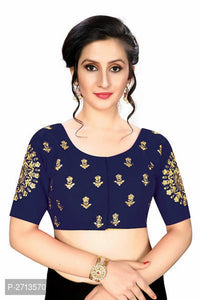 Navy Blue Embroidered Silk Blend Blouse - Indien Boutique