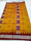 Yellow Sambalpuri Silk Saree - Indien Boutique