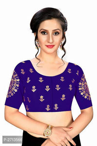 Royal Blue Embroidered Silk Blend Blouse - Indien Boutique