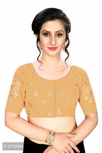 Dull Yellow Embroidered Silk Blend Blouse - Indien Boutique