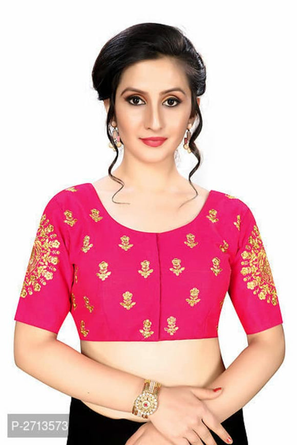 Pink Embroidered Silk Blend Blouse - Indien Boutique