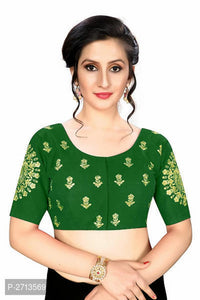 Green Embroidered Silk Blend Blouse - Indien Boutique