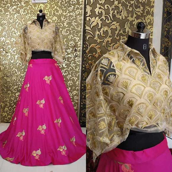 Pink Silk Skirt with Thread work - Indien Boutique