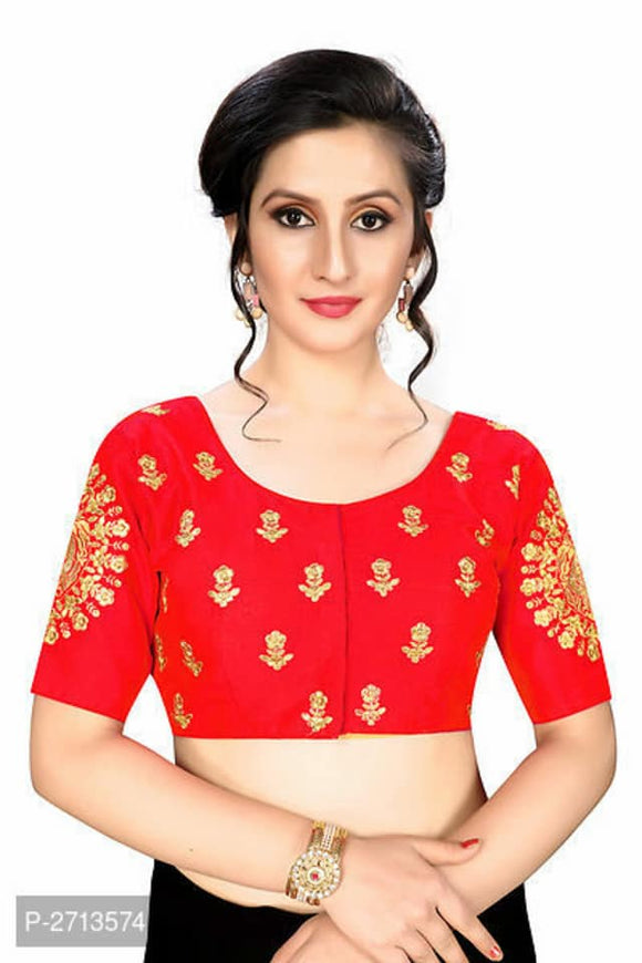 Red Embroidered Silk Blend Blouse - Indien Boutique