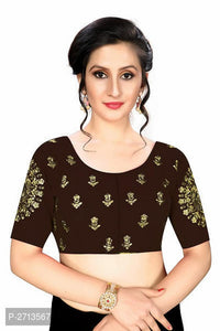 Brown Embroidered Silk Blend Blouse - Indien Boutique