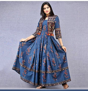Blue Digital Printed Rayon Gown - Indien Boutique