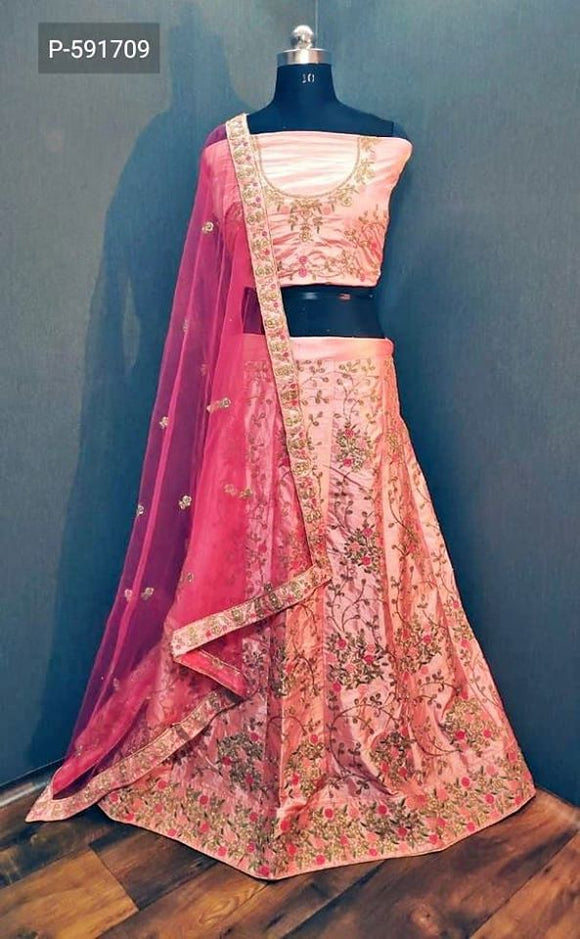 Silk Lehenga with Zari work - Indien Boutique