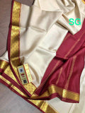 Mysore Silk Crepe Saree with Contrast Border - Indien Boutique