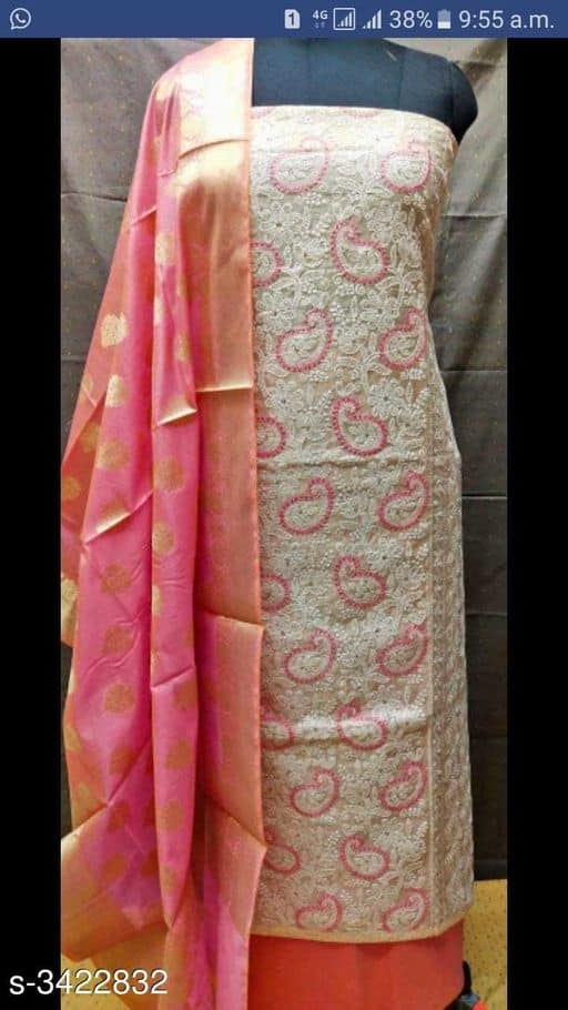 Chanderi Silk dress material - Indien Boutique