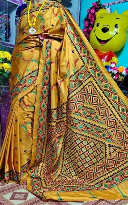 Bangalore Silk Gujrati Kantha Stitch Saree - Indien Boutique