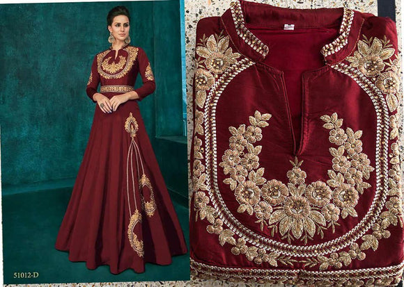 Maroon Embroidered Silk Gown - Indien Boutique
