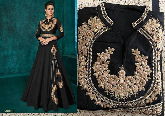 Black Embroidered Silk Gown - Indien Boutique