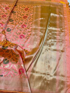 Katan Silk Pink Saree - Indien Boutique