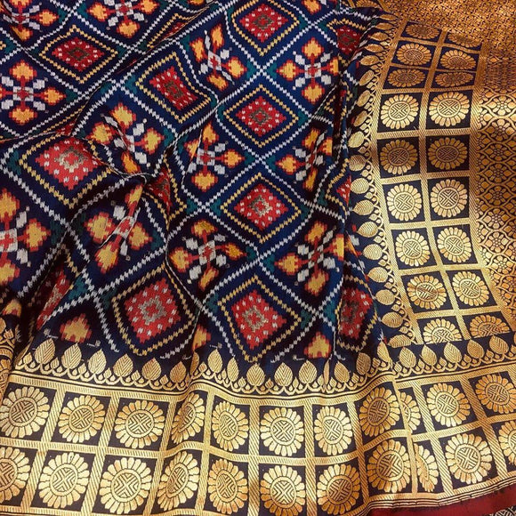 Blue Patola Saree with Meena Booti - Indien Boutique