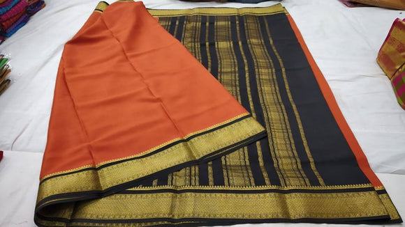 Mysore Silk Saree with Contrast Zari Border - Indien Boutique