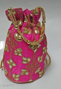 Embroidered Synthetic Potli Bags - Indien Boutique