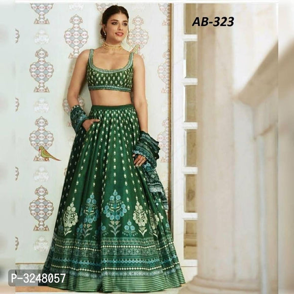 Green Tapeta Silk Lehenga - Indien Boutique